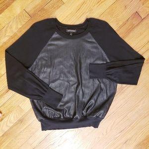 Banana Republic Faux Leather Mesh Crew Sweater